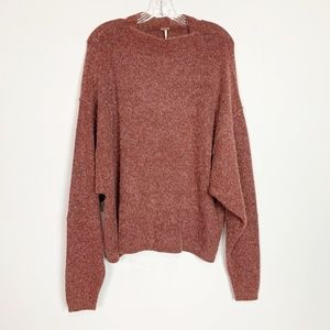 Free People | oversized sweater mock neck maroon L